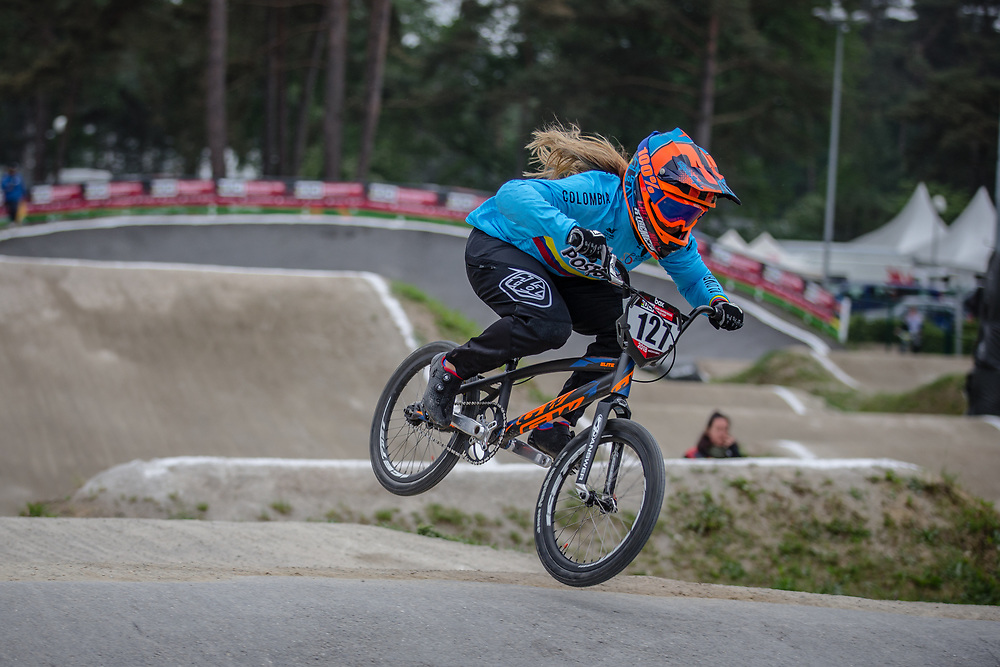 #127 (ESCOBAR YEPES Andrea) COL at Round 6 of the 2018 UCI BMX Superscross World Cup in Zolder, Belgium