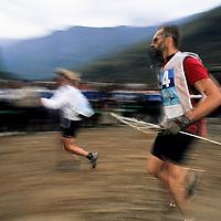 Spectators watch runners, 1999 Mild Seven Outdoor Quest Adventure Race, Lijiang, China