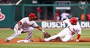 29 June 2010: St. Louis Cardinals shortstop Felipe Lopez (3) slides into second safely before Arizona Diamondbacks second baseman Kelly Johnson (2) can field the throw during Tuesday's game at Busch Stadium in St. Louis, Missouri. The Cardinals would win the game 8-0 after nine.