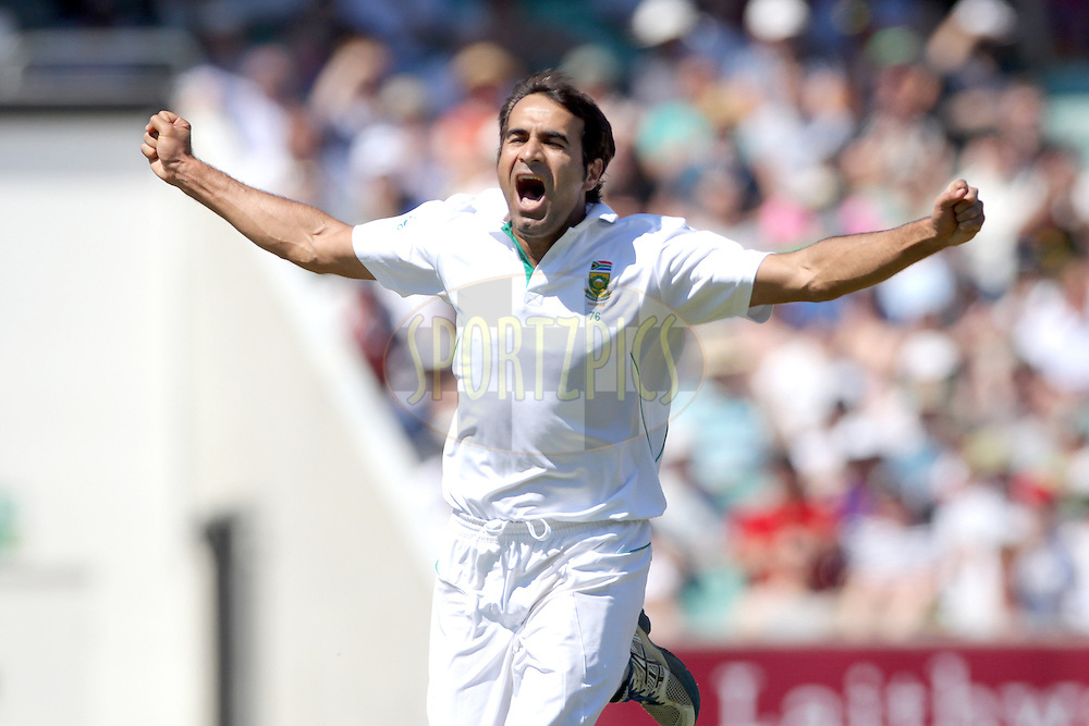 South Africa's Imran Tahir celebrates the wicket of Matt Prior caught Jacques Kallis for 40  - England v South Africa - 1st Investec Test Match -  Day 5 - The Oval  - London - 23/07/2012..Andrew Fosker / Seconds Left Images