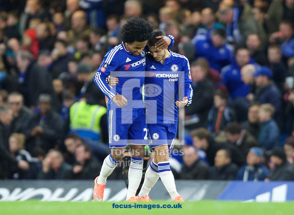 Willian of Chelsea (right) celebrates after scoring to make it 2-1 with Pedro during the FA Cup match at Stamford Bridge, London<br /> Picture by Alan Stanford/Focus Images Ltd +44 7915 056117<br /> 21/02/2016