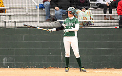 30 March 2013:  Allie Riordan batting during an NCAA Division III women's softball game between the DePauw Tigers and the Illinois Wesleyan Titans in Bloomington IL