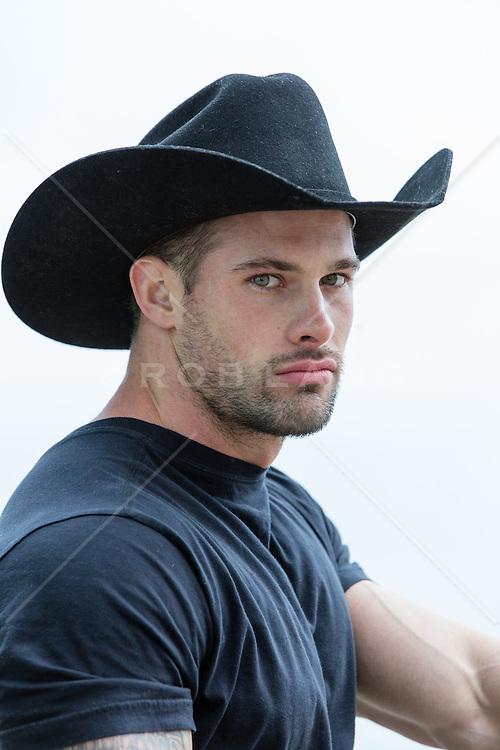 Portrait of a rugged All American cowboy