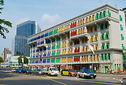 Singapore, Singapore - August 05, 2008: Colorful MICA building in Singapore, Singapore. Previously known as the Old Hill Street Police Station.