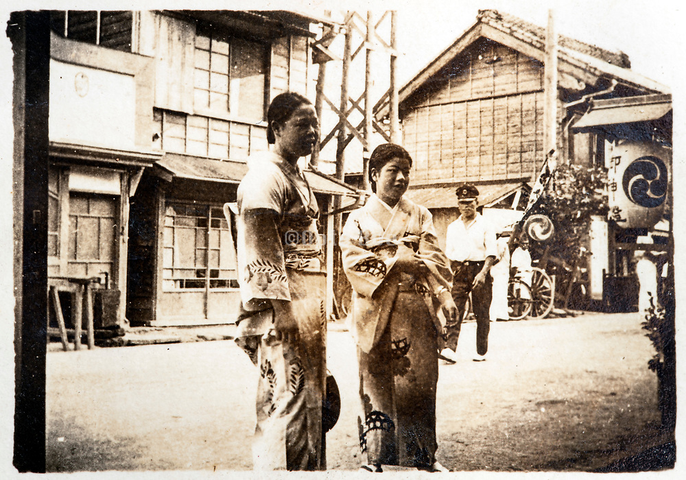 rural street scene with people Japan ca 1930s