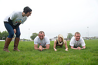 Five charities have issued a challenge to sporting enthusiasts in Galway to join them in a fundraising Guinness world record attempt &ndash; &lsquo;We&rsquo;re Planking it&rsquo;.<br /> The record which they are attempting to break is for the most people holding the abdominal plank position. It is being undertaken under the stewardship of local couple Sene and George Naoupu and a team of fitness instructors from their health and lifestyle business.<br /> The benefiting charities include Self Help Africa, the Irish Heart Foundation, COPE Galway, ACT for Meningitis and Special Olympics Connaught.<br /> Hurler Ollie Canning  and John Muldoon , Connacht Rugby Captain and  Maire Treasa Ni Dhubhghaill TG4 Bernice Kirwan COPE.  Photo: andrew downes