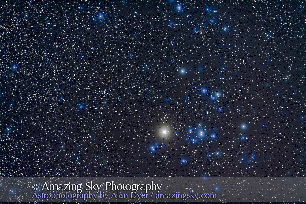 Hyades, and Aldebaran in the face of Taurus the bull, with smaller open cluster NGC 1647 at left. This is a stack of 4 x 4 minutes exposures with Canon 5D MkII camera at ISO 800 and 135mm lens at f/2.8, plus two exposures at the same settings but with Kenko Softon filter in place to add star glows.