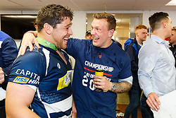 Gaston Cortes and Max Crumpton of Bristol Rugby celebrate after winning the Championship Final and promotion to the Aviva Premiership - Mandatory byline: Rogan Thomson/JMP - 25/05/2016 - RUGBY UNION - Ashton Gate Stadium - Bristol, England - Bristol Rugby v Doncaster Knights - Greene King IPA Championship Play Off FINAL 2nd Leg.