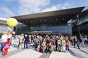 Vienna's new Hauptbahnhof (Main Railway Station) opening days.<br /> Kids having a souvenir taken in front of the main entrance.
