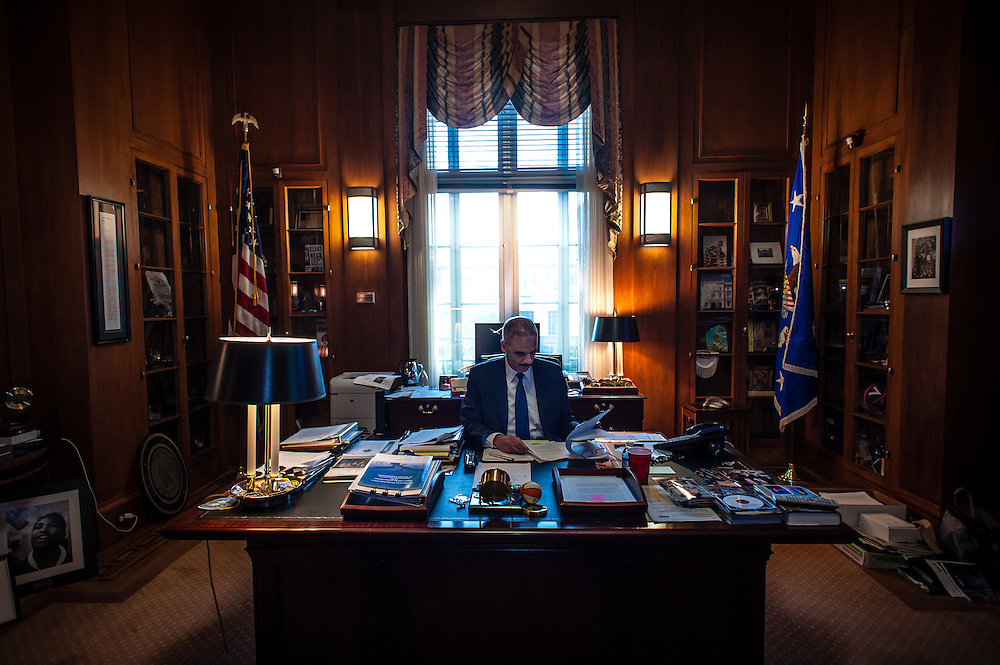WASHINGTON, DC -- 6/3/14 -- Eric Holder in his private office. U.S. Attorney General Eric Holder talks about Stand Your Ground, Fair Sentencing and felony disenfranchisement laws. Photos of him in the Attorney General's office and conference room.…by André Chung #AC1_6686