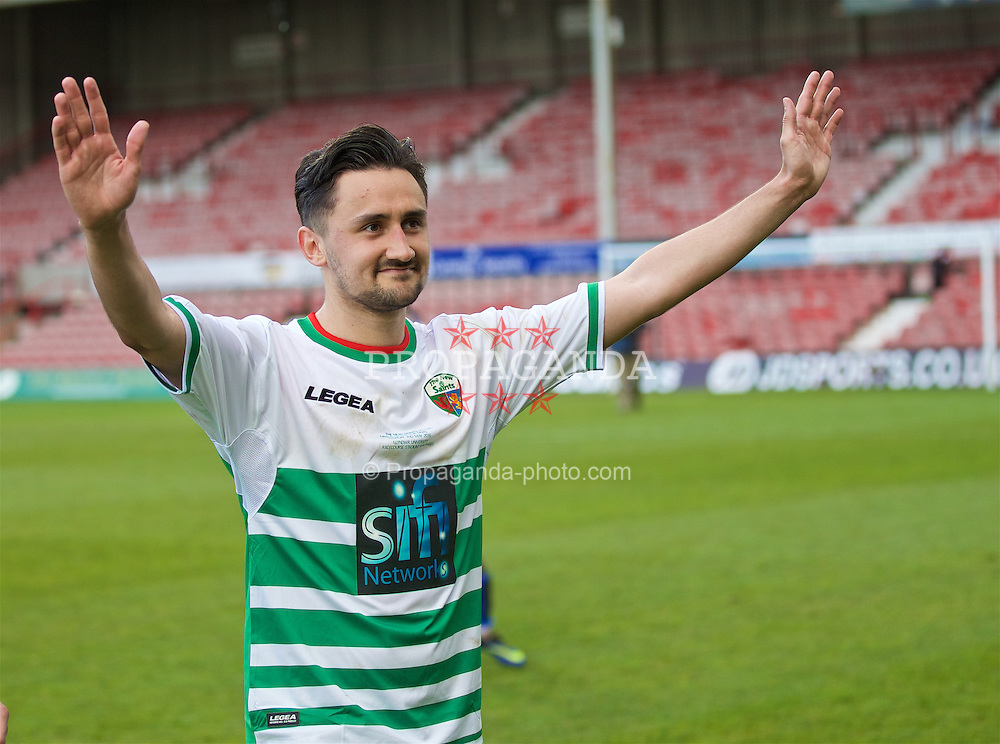 WREXHAM, WALES - Monday, May 2, 2016: The New Saints' goal-scorer Ryan Brobbel celebrates after the 2-0 victory over Airbus UK Broughton during the 129th Welsh Cup Final at the Racecourse Ground. (Pic by David Rawcliffe/Propaganda)