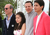 Producer Jaime Romandia, actress Andrea Vergara, director Amat Escalante and actor Armando Espitia. at the Heli film photocall at the Cannes Film Festival 16th May 2013