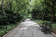 Benches under the crabapple trees in the Conservatory Garden of Central Park