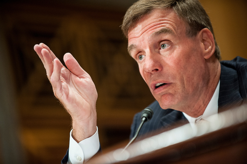 Senator MARK WARNER (D-VA) testifies before the Senate Homeland Security and Governmental Affairs Committee on Capitol Hill on Wednesday. Warner is the Senate co-sponsor of the Digital Accountability and Transparency Act (DATA Act) that passed the House of Representatives on April 25 that would require federal agencies to consistently report spending information on a new, searchable Web platform.