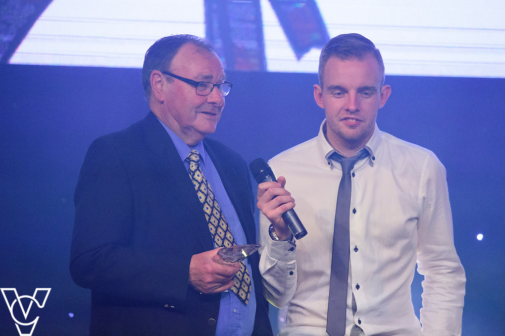 Dick Tacey being interviewed before presenting the Players Player award<br /> <br /> Lincoln City Football Club's 2016/17 End of Season Awards night - Champions Seasons Awards Dinner - held at the Lincolnshire Showground.<br /> <br /> Picture: Andrew Vaughan for Lincoln City Football Club<br /> Date: May 20, 2017 Champions Seasons Awards Dinner: