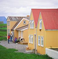 The farm at island Vigur in Ísafjarðardjúp. People talking outside houses. Bæjarhúsin á Vigur á Ísafjarðardjúpi. Fólk að spjalli fyrir utan húsin.<br />