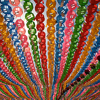 South Korea, Seoul, Paper Lanterns hanging from trees to honor Buddha?s birthday at the Jogyesa Buddhist Temple
