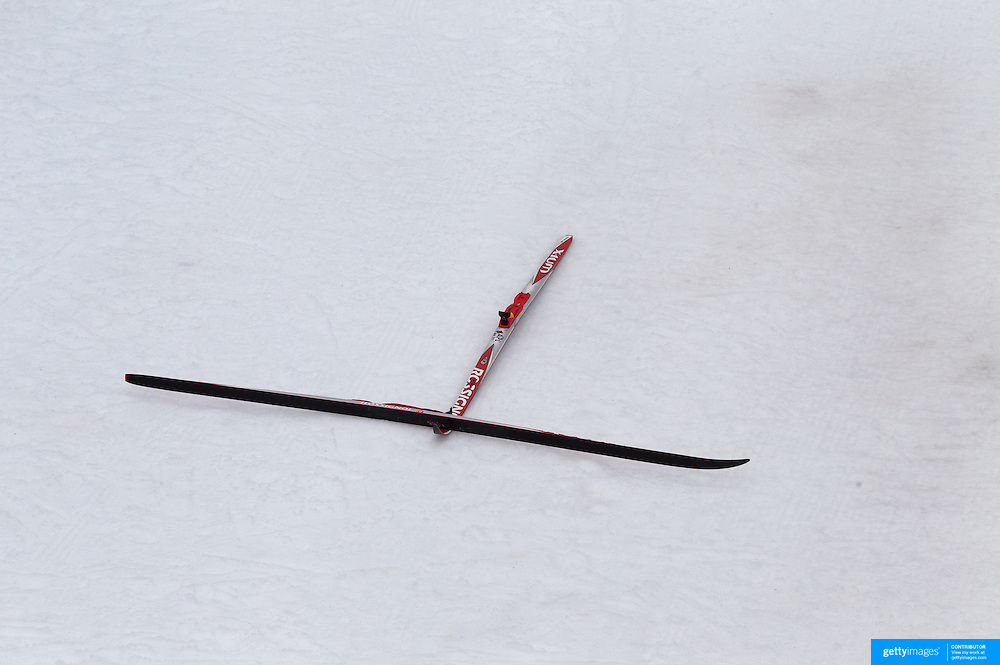Winter Olympics, Vancouver, 2010.Ski's left at the finish line after Petter Northug, Norway, won the Gold Medal in the Cross Country Skiing, Men's 50 KM Mass start at Whistler Olympic Park, Whistler, during the Vancouver Winter Olympics. 28th February 2010. Photo Tim Clayton