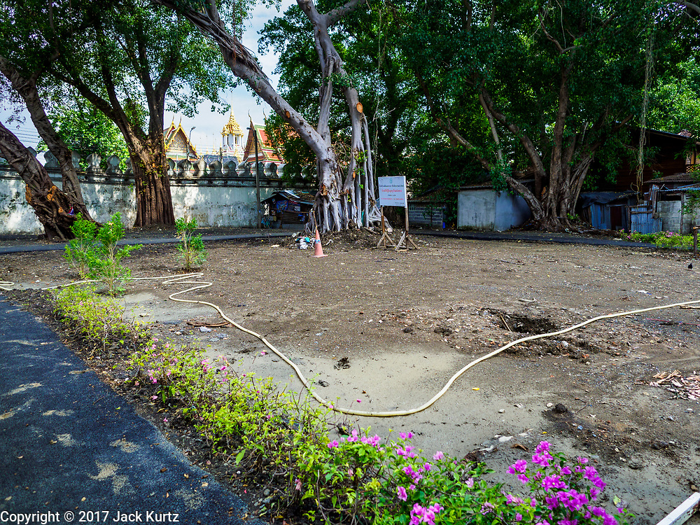 11 MAY 2017 - BANGKOK, THAILAND: A newly made park in Pom Mahakan. This site used to have at least four homes on it. The people living here were evicted and their homes torn down. The final evictions of the remaining families in Pom Mahakan, a slum community in a 19th century fort in Bangkok, have started. City officials are moving the residents out of the fort. NGOs and historic preservation organizations protested the city's action but city officials did not relent and started evicting the remaining families in early March.         PHOTO BY JACK KURTZ