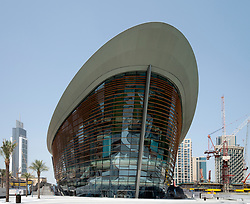 Exterior view of new Dubai Opera House in Downtown Dubai, UAE, United Arab Emirates.
