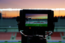 TRNAVA, SLOVAKIA - Thursday, October 10, 2019: A general view of the Štadión Antona Malatinského seen through a television camera's monitor before the UEFA Euro 2020 Qualifying Group E match between Slovakia and Wales. (Pic by David Rawcliffe/Propaganda)