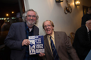 Ian Ure and a fan pose with the programme from Ure's presentation evening at the Caird Hall whn he was chosen as Scottish Footballer of the Year in 1962 - Dundee FC night of champions at the Whitehall Theatre, Dundee, Photo: David Young<br /> <br />  - &copy; David Young - www.davidyoungphoto.co.uk - email: davidyoungphoto@gmail.com