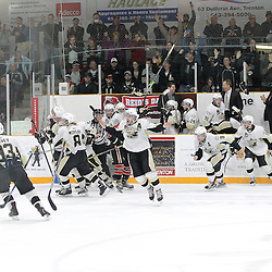 TRENTON, ON - Apr 22, 2016 -  Ontario Junior Hockey League game action between Trenton Golden Hawks and the Georgetown Raiders. Game 5 of the Buckland Cup Championship Series  at the Duncan Memorial Gardens in Trenton, Ontario. The Trenton Golden Hawks bench celebrates.<br /> (Photo by Tim Bates / OJHL Images)