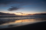 Photo sunset wall art. Santa Monica beach orange and blue sky reflections Pacific Ocean. Matted print, Westside, Venice, Los Angeles, Southern California photography. Fine art photography limited edition.