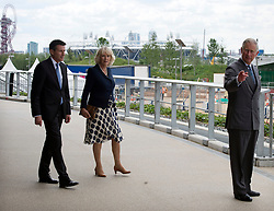 The Prince of Wales and the Duchess of Cornwall tour the Olympic Park velodrome in London with Lord Coe,  Wednesday 13th June 2012. Photo by: i-Images