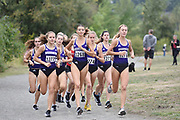 Allie Schadler (1277), Lilli Burdon (1268) and Katie Rainsberger (1276) of the Washington Huskies lead the pack in the women's 3 mile run at the UW/Seattle University Open at Warren G. Magnuson Park., Friday, Aug. 30, 2019, in Seattle. (Paul Merca/Image of Sport)