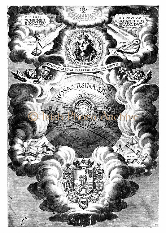 Half-title of Christopher Scheiner 'Rosa Ursina', Bracciano, 1630. German Jesuit and scholar: his studies on sunspots are represented at top right and top left.