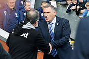 Leeds United Manager Marcelo Bielsa and Blackburn Rovers Manager Tony Mowbray during the EFL Sky Bet Championship match between Blackburn Rovers and Leeds United at Ewood Park, Blackburn, England on 20 October 2018.