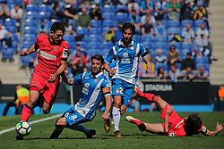 March 11, 2018 - Barcelona, Catalonia, Spain - Esteban Granero, Victor Sanchez and Oyarzabal during the match between RCD Espanyol and Real Sociedad, for the round 28 of the Liga Santander, played at the RCD Espanyol Stadium on 11th March 2018 in Barcelona, Spain. (Credit Image: © Joan Valls/NurPhoto via ZUMA Press)