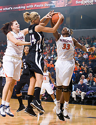 High Point forward/center Mackenzie Maier (44) and Virginia center Aisha Mohammed (33) battle for a rebound.  The #15 ranked Virginia Cavaliers defeated the High Point Panthers 78-48 in NCAA Women's Division 1 Basketball at the John Paul Jones Arena on the Grounds of the University of Virginia in Charlottesville, VA on November 14, 2008.