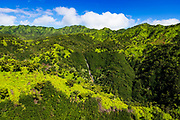 Manawaiopuna Falls (aerial) also known as Jurassic Park Falls, Hanapepe Valley, Kauai, Hawaii USA