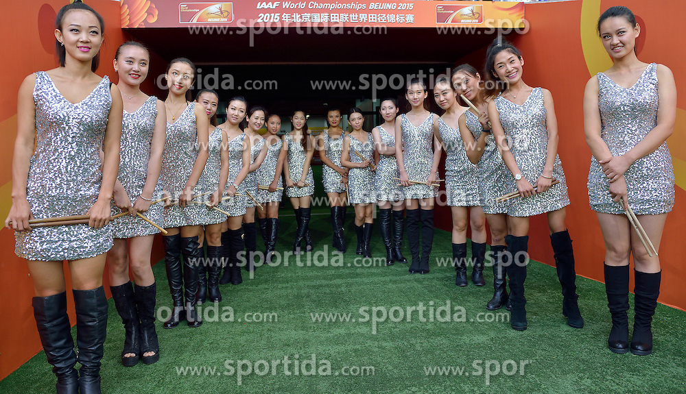 26-08-2015 CHN: IAAF World Championships Athletics day 5, Beijing<br /> Chinese cheerleaders entertainment girls<br /> Photo by Ronald Hoogendoorn / Sportida