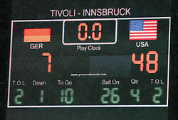 10.07.2011, Tivoli Stadion, Innsbruck, AUT, American Football WM 2011, Group A, Germany (GER) vs United States of America (USA), im Bild LED wall with the final result // during the American Football World Championship 2011 Group A game, Germany vs USA, at Tivoli Stadion, Innsbruck, 2011-07-10, EXPA Pictures © 2011, PhotoCredit: EXPA/ T. Haumer