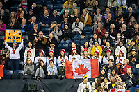 KELOWNA, BC - OCTOBER 25:  Team Canada fans cheer on Canadian skater Nam Nguyen during the men's short program at Skate Canada International held at Prospera Place on October 24, 2019 in Kelowna, Canada. (Photo by Marissa Baecker/Shoot the Breeze)