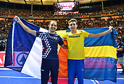 Mondo Duplantis aka Armand Duplantis (SWE), right, and Renaud Lavillenie (FRA) poses after Duplantis won the pole vault in a World U20 and  Swedish national record 19-10 1/4 (6.05m) in the European Championships in Berlin, Germany, Sunday, Aug 12, 2018. (Jiro Mochizuki/Image of Sport)