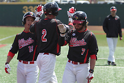 26 April 2015:  Ryan Koziol gets high fives after hitting a homer that scored two by Jared Hendren and Mason Snyder during an NCAA Division I Baseball game between the Missouri State Bears and the Illinois State Redbirds in Duffy Bass Field, Normal IL