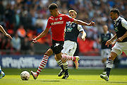Barnsley forward, on loan from Manchester United, Ashley Fletcher (18) scores a goal to make the score 1-0 during the Sky Bet League 1 play off final match between Barnsley and Millwall at Wembley Stadium, London, England on 29 May 2016. Photo by Simon Davies.