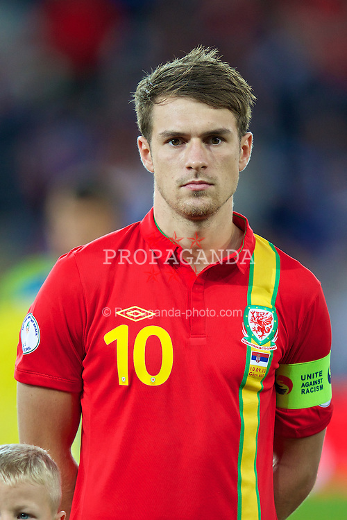 CARDIFF, WALES - Tuesday, September 10, 2013: Wales' captain Aaron Ramsey before the 2014 FIFA World Cup Brazil Qualifying Group A match against Serbia at the Cardiff CIty Stadium. (Pic by David Rawcliffe/Propaganda)
