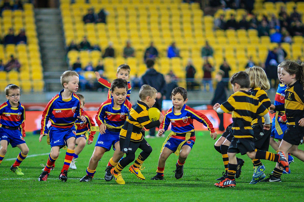 Pre-match action before the Super rugby union game (Round 14) played between Hurricanes v Reds, on 18 May 2018, at Westpac Stadium, Wellington, New  Zealand.    Hurricanes won 38-34.