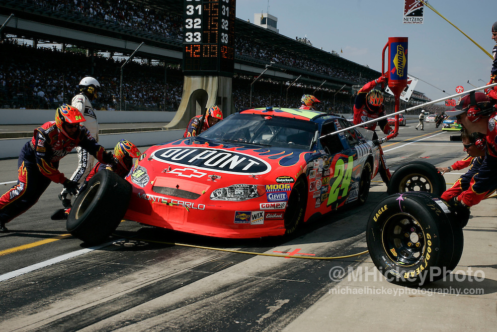 Jeff Gordon dominated the Brickyard 400 with a strong car and fast pit stops