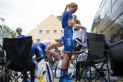Tayler Wiles (USA) of UnitedHealthcare Cycling Team checks her race radio before Stage 1 of the Lotto Thuringen Ladies Tour - a 124.8 km road race, starting and finishing in Schleiz on July 13, 2017, in Thuringen, Germany. (Photo by Balint Hamvas/Velofocus.com)