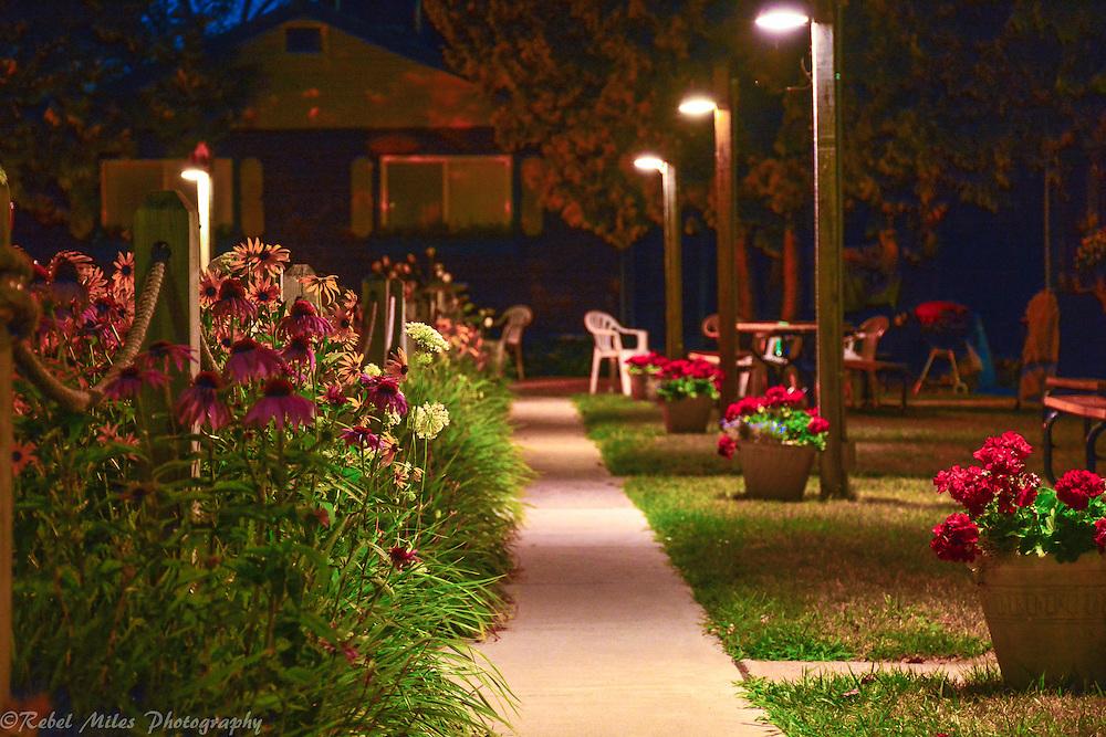 A Quiet Sidewalk At The Anchor Inn In Traverse City, Michigan