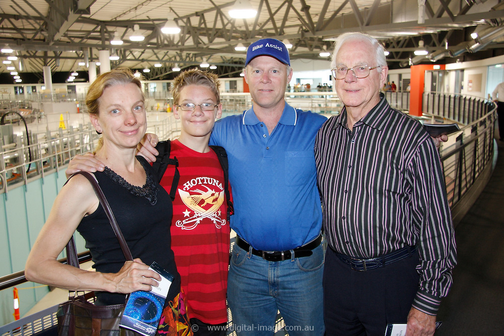 Australian Synchrotron Open Day 2008, Julia Sykes, Daniel Sykes-Turner, Trevor Turner and Vic Sykes. Trevor and Julia both have a background in science, while Vic is a retired Civil Engineer.