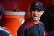 PHOENIX, AZ - APRIL 08:  Jake Lamb #22 of the Arizona Diamondbacks smiles in the dugout during the MLB game against the Cleveland Indians at Chase Field on April 8, 2017 in Phoenix, Arizona. The Arizona Diamondbacks won 11-2.  (Photo by Jennifer Stewart/Getty Images)