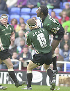 14/04/2002.Sport - Rugby Union.Madjeski Stadium - Reading.Zurich Premiership.London Irish vs Harlequins.Exiles fullback Michael Horak and teammate Nnamdi Ezulike contest the high ball....