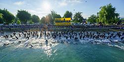 28.06.2015, Metnitzstrand, Klagenfurt am Wörthersee, AUT, Ironman Austria 2015, im Bild der Start der Schwimmer, Luftaufnahme, Drohne, Luftbild, Schwimmstart// during the 2015 IRONMAN Austria at the Metnitzstrand, Klagenfurt, Austria on 2015/06/28. EXPA Pictures © 2015, PhotoCredit: EXPA/ Gert Steinthaler